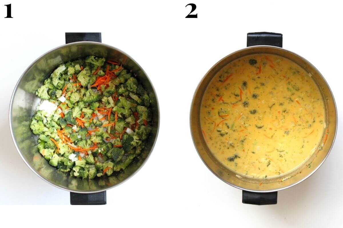 two step process to make one-pot vegan broccoli cheddar soup