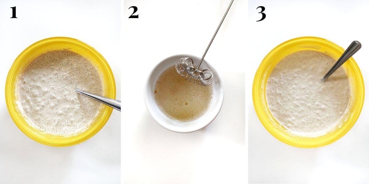 three steps to making vegan buttermilk waffle batter