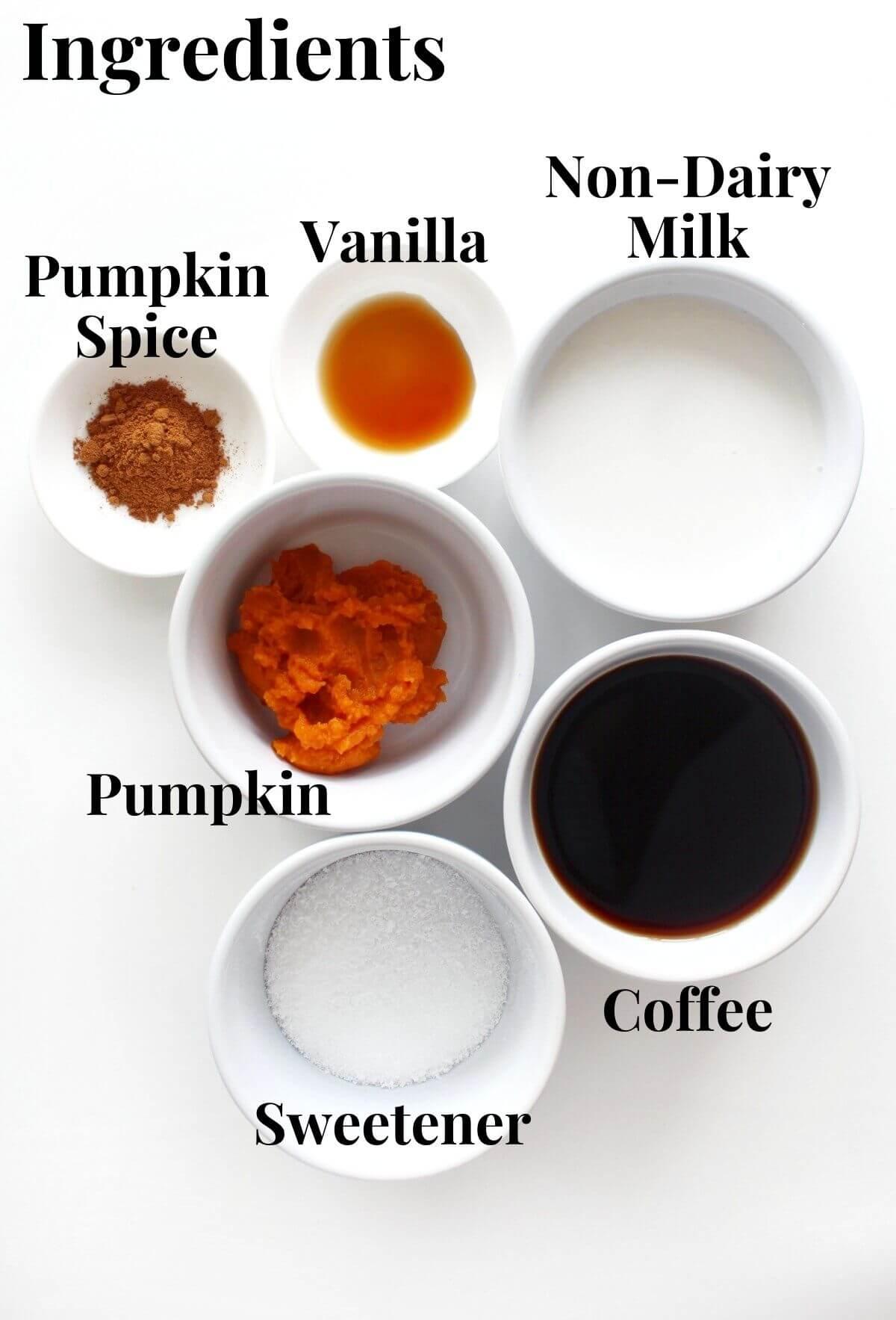 ingredients for vegan pumpkin spice latte
