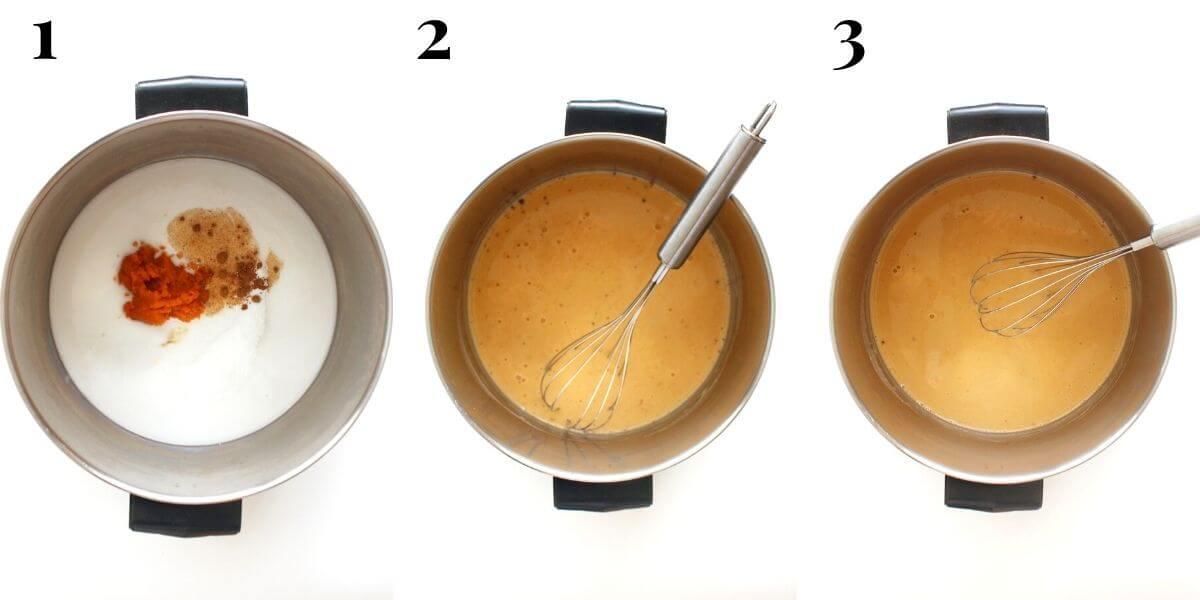3 step process to make a vegan pumpkin spice latte